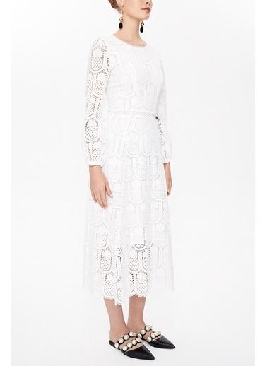 Societa Ananas Desenli Brodeli Midi Elbise 92639 Beyaz